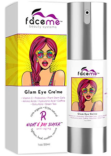 FACEME Eye Cream, Anti-Aging Youth Promoting, Antioxidants Botanicals- Vanquish Puffiness, Slay Inflammation, Super Hydrate, Smooth Fine Lines, Tighten Firm with Caffeine, Plant Stem Cells 1 oz