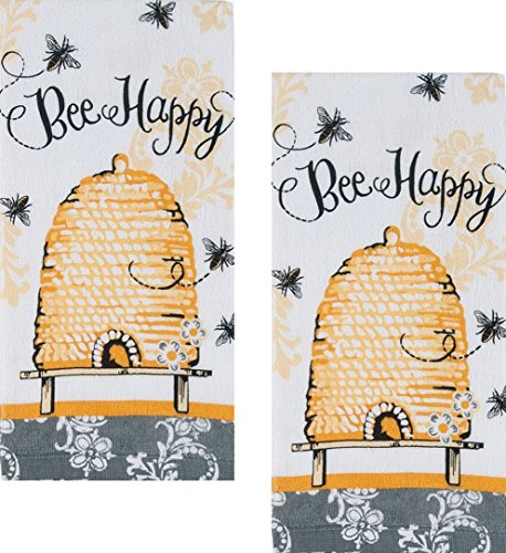 Bee Happy Cotton Terry Kitchen Towels, Set of 2,Yellow