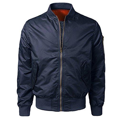 Sumen Men Slim Fit Lightweight Sportswear Jacket Casual Bomber Jacket Soild Color Outerwear Coat