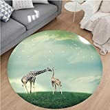 Nalahome Modern Flannel Microfiber Non-Slip Machine Washable Round Area Rug-ther and Child Animal on Meadow Fairytale Atmosphere Bright Stars Romance Moonlight Multi area rugs Home Decor-Round 71''