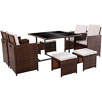 TANGKULA 9 PCS Black Patio Garden Rattan Wicker Sofa Set Furniture  Cushioned W/Ottoman (