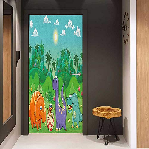 Epoxy Rain Dots - Onefzc Self-Adhesive Wall Murals Nursery Funny Dinosaurs and Tropical Rainforest Cartoon Jungle Green Landscape Kids Theme Sticker Removable Door Decal W35.4 x H78.7 Multicolor