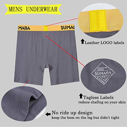 SUMABA Long Leg Men Underwear Boxer Briefs Fly with Pouch No Ride Up Bamboo Underpants for Men Breathable