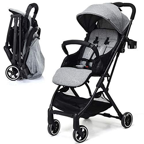 INFANS Lightweight Baby Pram | Folding Baby Stroller with Safe Five-Point Harness and Brake, Adjustable Backrest, Including Footrest, Storage Basket, Cup Holder, Suit for 0-3 Year (Grey)