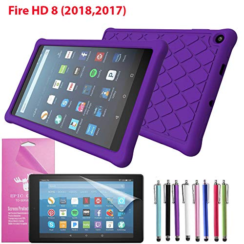 EpicGadget Case for Amazon Fire HD 8 2018/2017 Silicone (8th and 7th Generation, 2018 and 2017 Release) Slim Anti-Slip Soft Rubber Silicone Gel Case Cover For Fire HD 8, 8 HD Display Tablet (Purple)