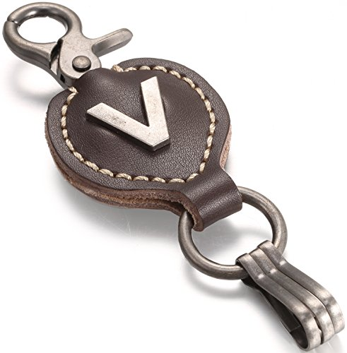Brown Leather Alphabet Keychain, Single Letter with Easy Clasp Key - by Marino Ave - V - (Leather Womens Ring)