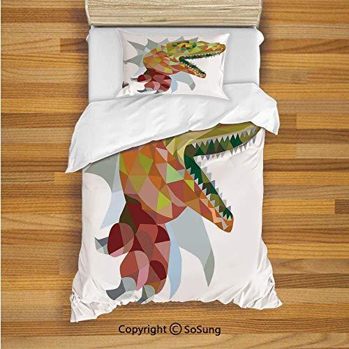 (Reptiles Kids Duvet Cover Set Twin Size, Multi Colored Mosaic Wild Trex Illustration Opens Mouth Jurassic Pixel Dinosaur Home Decor 2 Piece Bedding Set with 1 Pillow Sham,Multi)