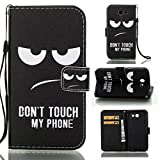 J3 Emerge Case, Galaxy J3 2017 Case, Love Sound [Don't Touch My Phone] [Wrist Strap] [Stand] Luxury PU Leather Wallet Case Flip Cover Built-in Card Slots for Samsung Galaxy J3 (2017) / J3 Emerge