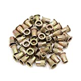 uxcell® 50Pcs Copper Tone Metal 1/4-20 UNC Rivet Nut Flat Head Insert Nutsert for Car
