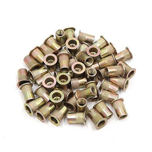 uxcell a17052300ux0571 50Pcs Copper Tone Metal 1/4-20 UNC Rivet Nut Flat Head Insert Nutsert for Car 50 Pack by uxcell (Image #3)