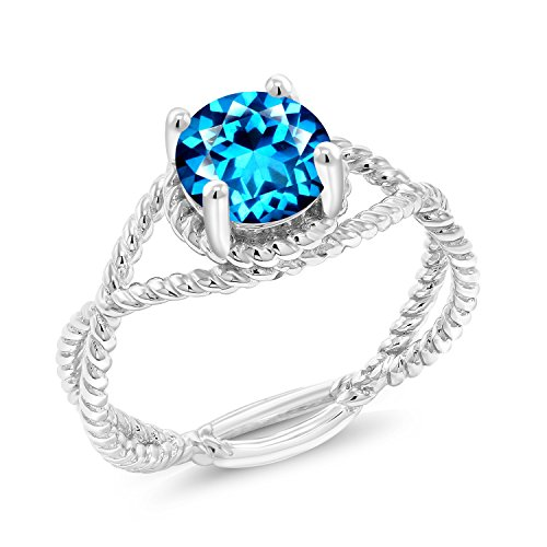 Blue Topaz Rope Ring - 925 Silver Fashion Right-Hand Rope Designed Ring Set with Kashmir Blue Topaz from Swarovski