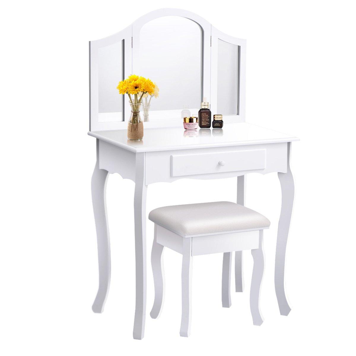 Giantex Bathroom Vanity Makeup Table Set w/ Tri-folding Mirror & Cushioned Stool Dressing Table (White)
