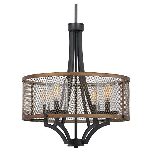 Minka Lavery Farmhouse Chandelier Pendant Lighting 4694-107 Marsden Commons Dining Room Fixture, 4-Light 240 Watts, Smoked Iron