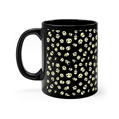 Seamless Halloween Pattern With Skulls Isolated On Black Pirate Funny Mugs Cups Ceramic 11oz