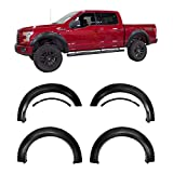 Galaxy Auto Fender Flares for 2015-17 Ford F150 - Pocket Riveted Style in Paintable Smooth Matte Black - 4 Piece Set (Incompatible with Technology Package 68T w/Lane Keeping Sensors)