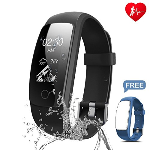 Fitness Tracker, Ronten R7 Plus Fitness Watch With Heart Rate Monitor, Waterproof Activity Tracker, Wireless Bluetooth Smart Bracelet with Replacement Strap for Android & IOS