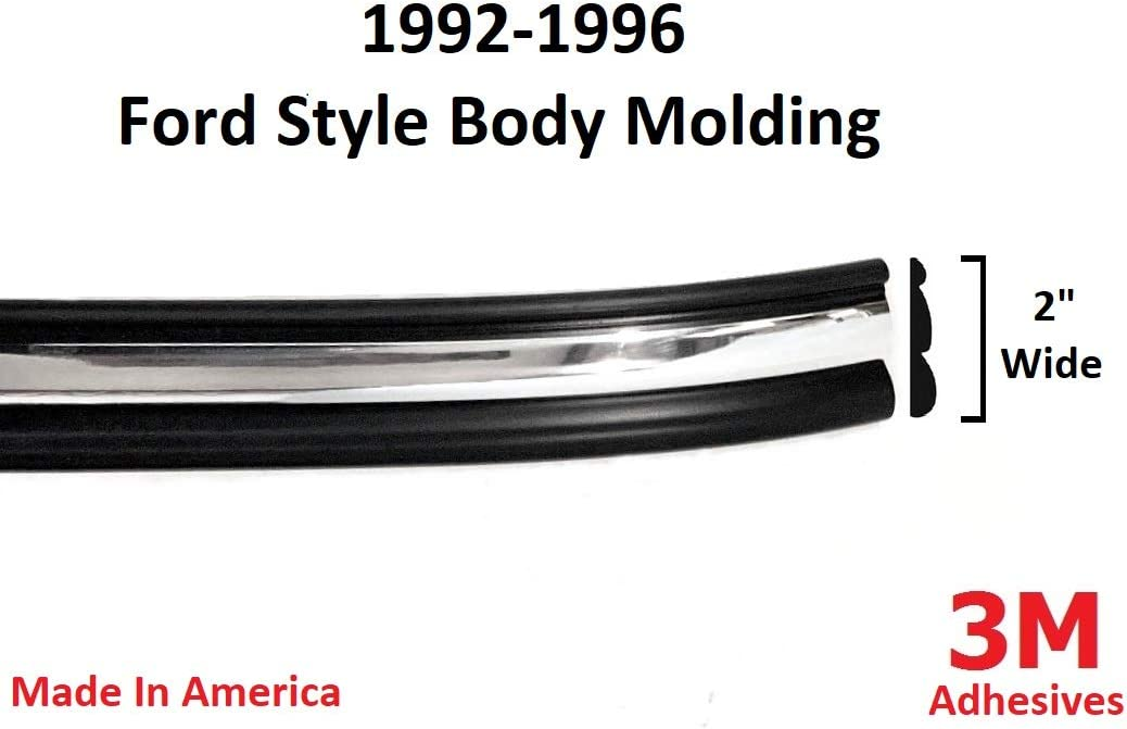 "Automotive Authority LLC 1992-1996 Ford Black Chrome Side Body Trim Molding Rocker Panel Pickup Truck F150, F250, F350, Bronco - 2"" Wide (Half Roll - 12 ft): Automotive"