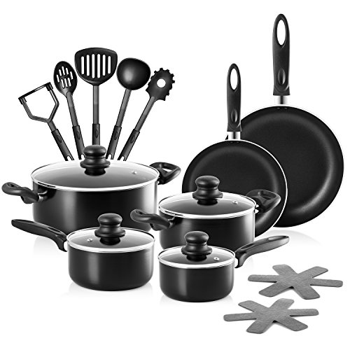 Chef's Star 17 Piece Professional Grade Aluminum Non-stick Pots & Pans Set - Induction Ready Cookware Set - Black