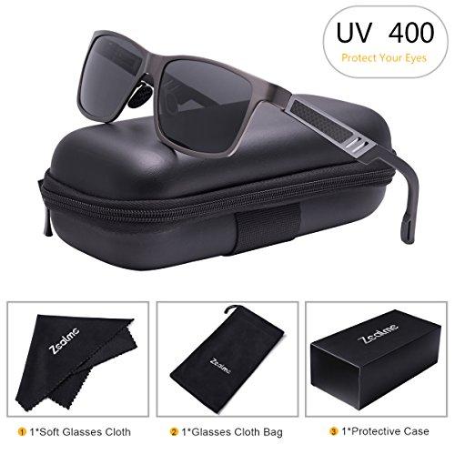 Zealme Polarized Wayfarer Driving Sunglassesfor Men Women HD Vision Anti Glare Lens UV 400 UVA UVB Glasses Lightweight Durable Metal Frame for Hiking Bike Cycling (Gray) - Personalized Wayfarer Sunglasses