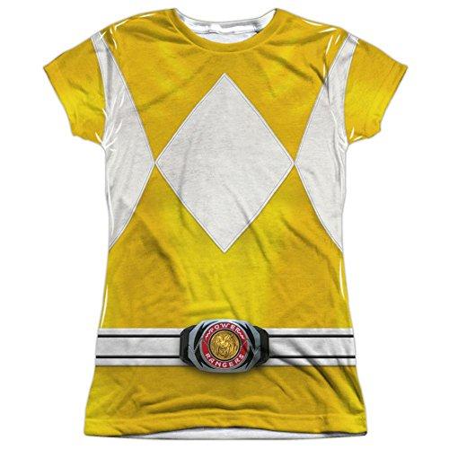 Juniors: Power Rangers- Yellow Ranger Costume Tee Juniors (Slim) T-Shirt Size (Womens Yellow Power Ranger Costumes Tshirt)