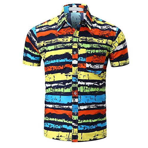 (iLXHD Personality Men's Casual Slim Short Sleeve Printed Shirt Top Blouse(Multicolor,L))
