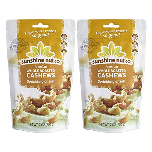 (Sunshine Nut Company 'Sprinkling of Salt' Cashews, Peanut Free, Gluten Free, GMO Free, 7 oz, Pack of 2)