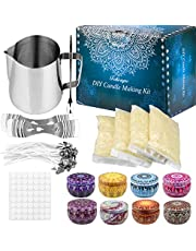 Candle Making Kit Supplies, Beeswax DIY Candle Craft Tools Including with 1 Candle Make Pouring Pot, 50 Candle Wicks, 56 Wicks Sticker, 4 Pack Beeswax, 8 Candle Tins (New Updated)
