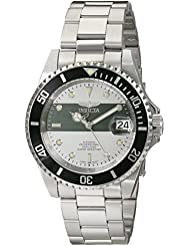 Invicta Mens 16131 Pro Diver Stainless Steel Automatic Watch with Black Bezel