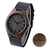 Personalized Mens Wood Watches Engraved Ebony Wood Watch Wedding Gift Watch for Groom Engraved Groomsmen Gift