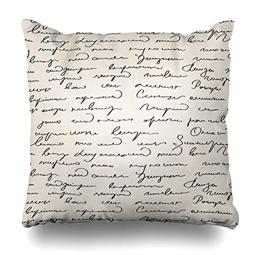 Ahawoso Throw Pillow Cover Vellum Write Abstract Handwritten Text Pattern Scribe Script Cursive Shorthand Letter Penman Design Decorative Pillowcase Square Size 20