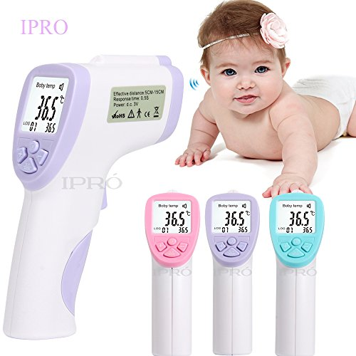 Baby Thermometer Forehead,IPRO Safety Children Infrared Non Contact Instant-read Temperature Monitor Gun with Fever Alarm+ 32 Memory Record for Adult/Elderly/Toddlers (Purple)