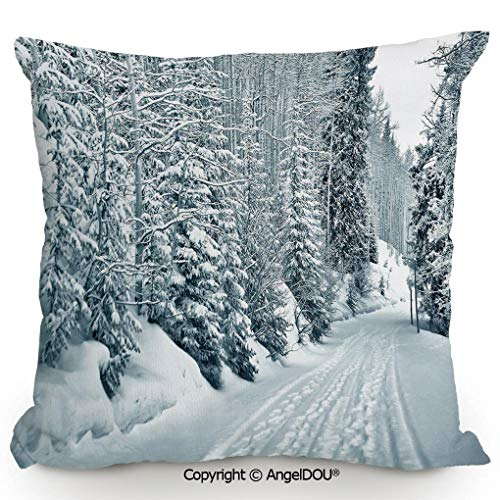 (AngelDOU Decorative Cotton Linen Pillowcase with core,Ski Themed Snowy Road Cold Parts of The World Footprints Colorado United States Decorative,Sofa Bedroom Car Eco-Friendly Pillow 17.7x17.7 inches)