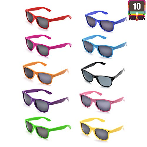 10 Packs Adult and Kids Neon Colors 80's Retro Style Sunglasses (Adult -