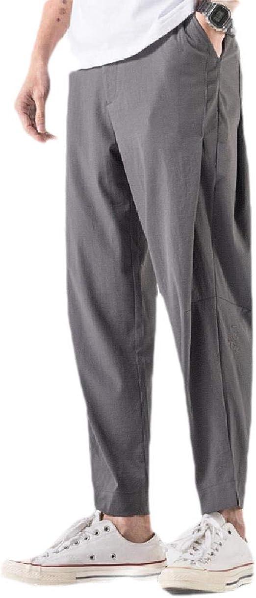 EnergyWD 男性刺繍リラックスミッドウエスト夏のトレーニングパンツポケット付き