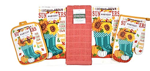 Autumn Sunflowers and Pumpkins Kitchen Towels and Pot Holder Set: Locally Grown Pick Your Own Flowers and Seeds with…