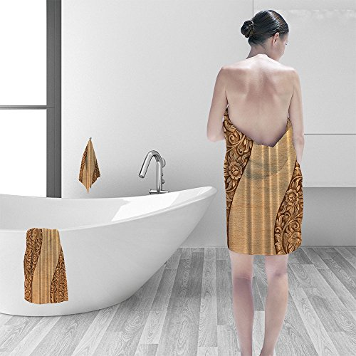 Bath towel set Country Decor Carved Wood Ornamental Flowers Modern Bathroom Adornment Lake House Decor Products Decoration Lovely Home Decorating Fabric Water Resistant No Liner Needed Brown Khaki ()