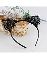 Akak Store Sexy Lovely Women Fashion Lace Cat Ears Headband Hair Accessories, Black