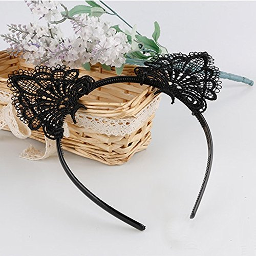 AKOAK Sexy Lovely Women Fashion Lace Cat Ears Headband Hair Accessories, Black]()