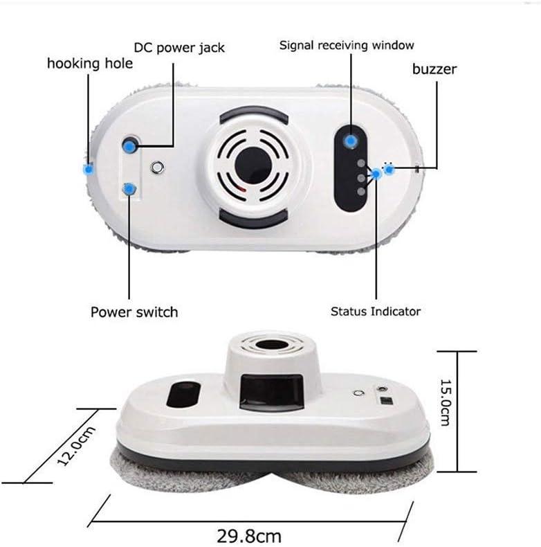 MaquiGra Robot Laveur De Vitres Outils de Nettoyage automatiques et intelligents Control Remoto Succión Fuerte 5600Pa+ 6 piezas de paño de limpieza (Blanc) Blanc
