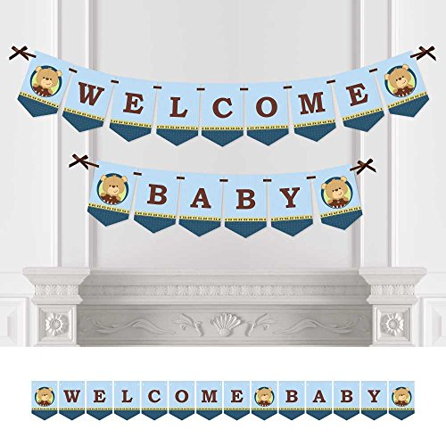 Big Dot of Happiness Baby Boy Teddy Bear - Baby Shower Bunting Banner - Blue Party Decorations - Welcome Baby