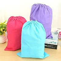 Set of 3 Large Drawstring Shoe or Laundry Travel Bag Organiser. Blue, Black, Purple.