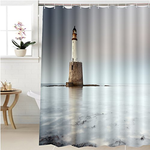 Gzhihine Shower curtain rattray head lighthouse on the north east coast of scotland as the sun setting with the tide coming Bathroom Accessories 72 x 96 - North Designer Outlet East