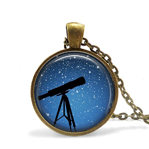Telescope Necklace, Star Gazing Necklace, Moon and Stars, Telescope Necklace, Pendant