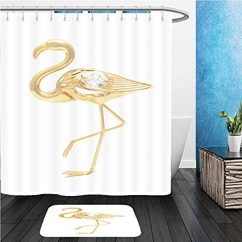 Beshowereb Bath Suit  Showercurtian   Doormat Gold Brooch Flamingo Isolated On White 535186138