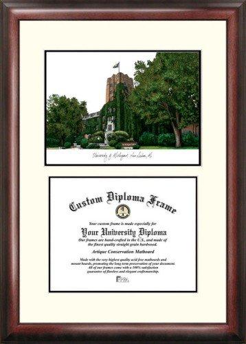 Michigan University Framed Lithograph - University of Michigan Scholar Framed Lithograph with Diploma