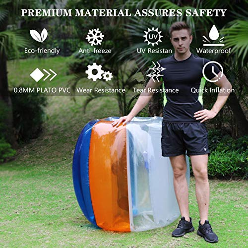 Two Inflatable Bumper Ball 1.5M/5ft Diameter Bubble Soccer Ball Blow Up Toy in 5 Min Inflatable Bumper Bubble Balls for Adults & Teens (Orange)