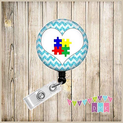 Brite Glitter - Autism Awareness Puzzle Heart on Brite Blue Glitter Chevron - Button Badge Reel - BR0006