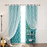 """Best Home Fashion Tulle Lace & Moroccan Print Border Room Darkening Curtain Set – Stainless Steel Nickel Grommet Top – Blue – 52""""W x 84""""L – (2 Curtains and 2 Sheer curtains)"""