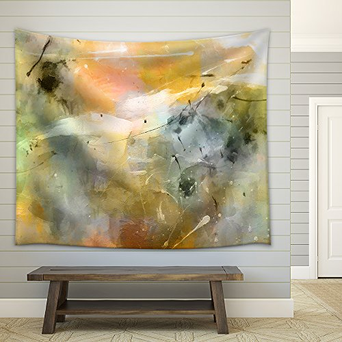 Art Abstract Acrylic Pastel Colors Background with Light Green Orange Brown Blue Grey and White Blots Fabric Wall Tapestry