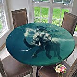 PINAFORE HOME Simple Modern Round Table Cloth swimm Elephant Underwater African Elephant in Ocean with Mirrors for Daily use, Wedding, Restaurant 31.5''-35.5'' Round (Elastic Edge)